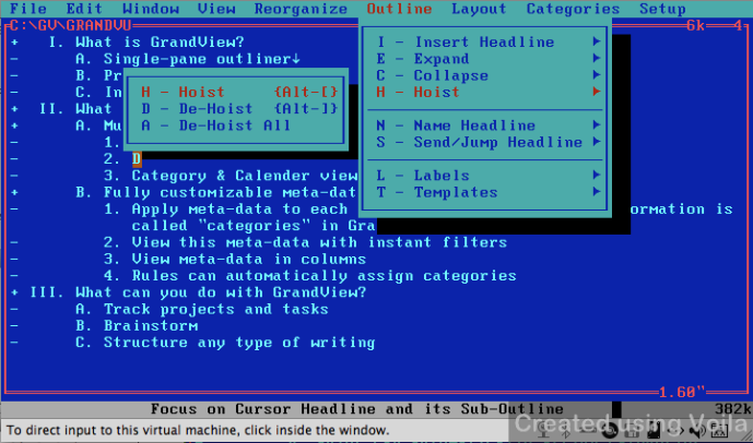 GrandView provides a host of outlining tools