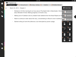 ThinkBook for the iPad with the Slider activated.
