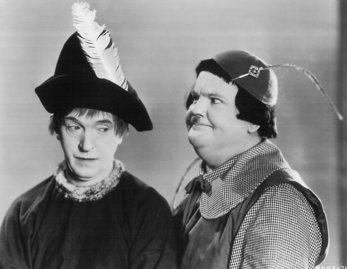 Stan Laurel and Oliver Hardy in March of the Wooden Soldiers.