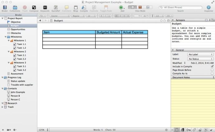 Scrivener, the best app for writers, makes a darn good project manager too.