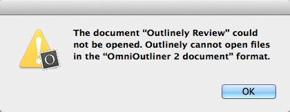 Outlinely failing to open its own file!
