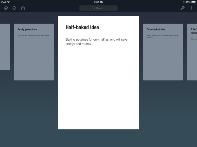An open sheet, part of a stack in Daedalus for iPad.