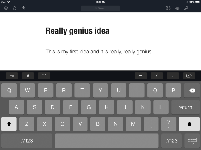 Editing a spark note in Daedalus Touch for the iPad.