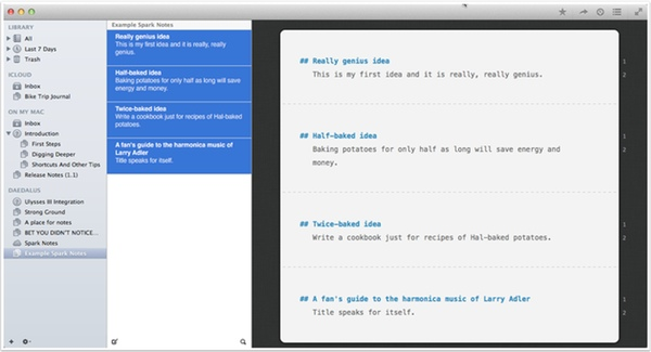 """Four spark notes selected and view-able as """"one"""" document in Ulysses."""