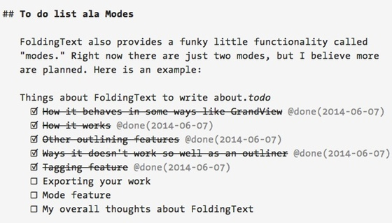 The .todo mode allows you to build dynamic checklists in FoldingText.
