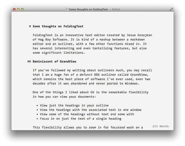 FoldingText is a plain text productivity tool with some muscle.