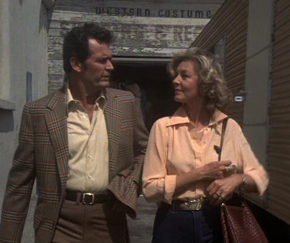 James Garner and Lauren Bacall in an episode of The Rockford Files.