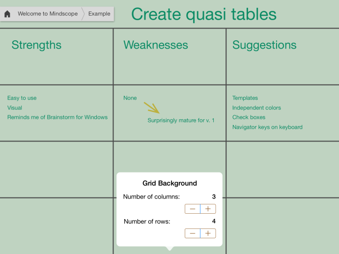 Add grid lines to your boards to organize your thoughts.