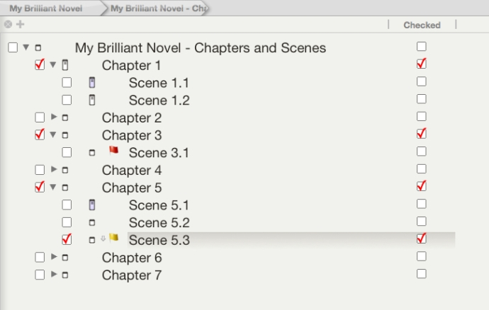 This screen detail demonstrates the two ways you can include checkboxes in your outline. Of course, you would never need to use both.