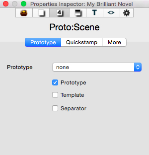 The Properties tab in the Inspector allows you to set a note as a prototype, template or separator.