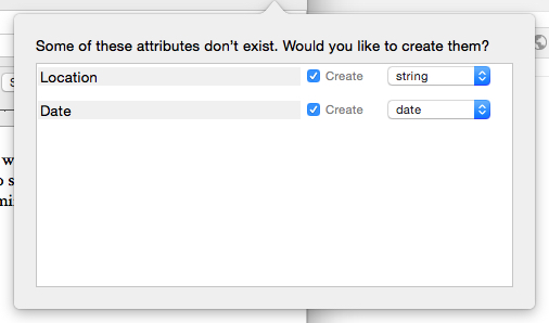 If you try to create a key attribute that is not already an attribute, Tinderbox gives you the option to create it and select the type of data it will hold.