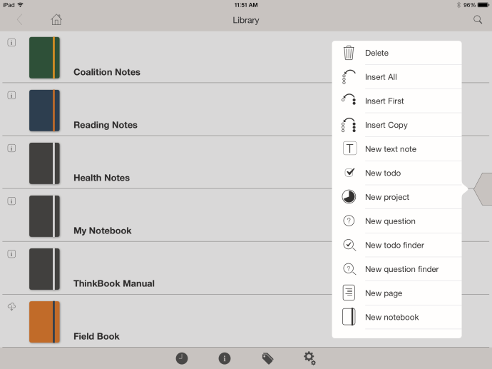 ThinkBook on my home page, featuring the various notebooks I've created. Note the slider on the right (the little triangular thingy), which you tap to bring up the menu of various item types that you can add to your notes.