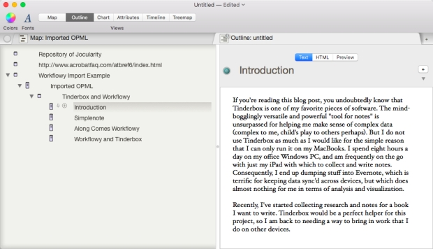 Outline view of the notes Workflowy notes imported into Tinderbox.
