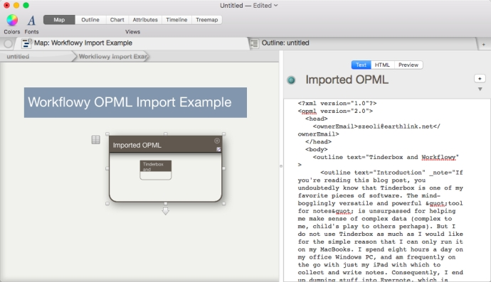 When you paste the OPML text into Tinderbox, a top level note is created with the OPML text in the note.