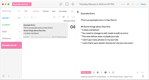 Day One 2 has multiple journal capability. To edit an entry, you need to be in edit mode. You can use markdown for formatting.