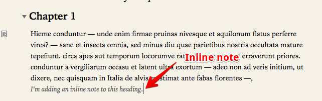 By default, the inline note is made to have a lower-level of importance by appearance.