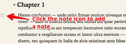 To add a note to an OmniOutliner topic, click the note icon.