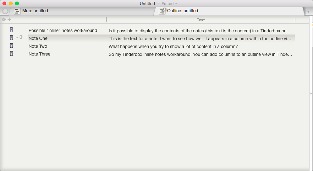 """Outline view in Tinderbox with the """"Text"""" attribute displayed in the outline as a separate column."""