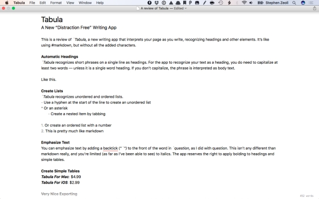 Tabula is a new writing app that recognizes some basic elements of text on the page and automatically adds formatting.