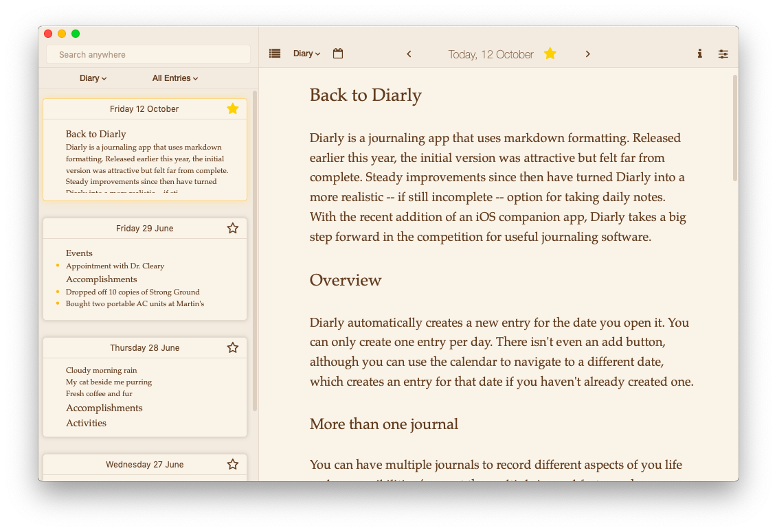 Diarly \u2014 an excellent markdown journal | Welcome to Sherwood